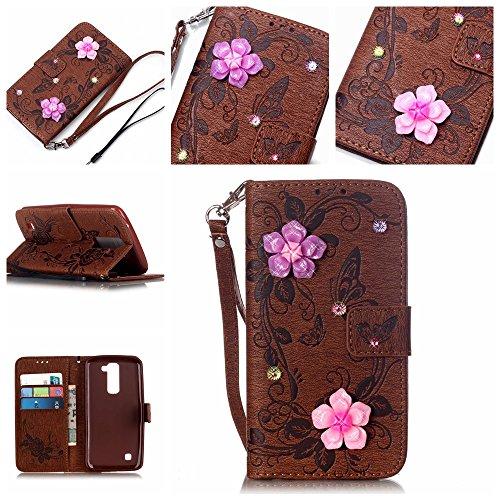 Ecoway Case / Cover / Phone Case / Case pour iPhone 7 Plus papillon incrusté motif de diamant Bling Crystal Glitter Strass gaufrage design Folio PU Housse en cuir dans le livre de style avec support f brun