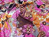 Italien Tissu Robe Motif Floral Mélange de coton tissé Multicolore–par mètre + Guide Craft