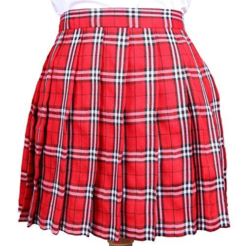Cheerlife Mädchen Damen Faltenröcke Kariert Röcke Minirock kurz Skirt Schuluniform Cosplay Rock Rot-Weiß