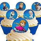 12 x Vorgeschnittene und Essbare Disney Die Eiskönigin - Völlig Unverfroren Kuchen Topper (Tortenaufleger, Bedruckte Oblaten, Oblatenaufleger)