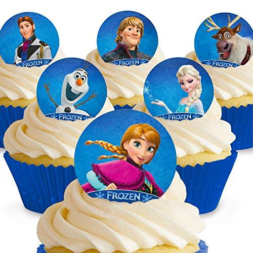 Cakeshop 12 x VORGESCHNITTENE UND ESSBARE Disney Die Eiskönigin - Völlig Unverfroren Kuchen topper (Tortenaufleger)