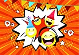 10 Lustige Einladungskarten für Kindergeburtstag mit Smiley, Emoji im Set LOL # Geburtstags-Party für Jungen und Mädchen. UV-Veredelt