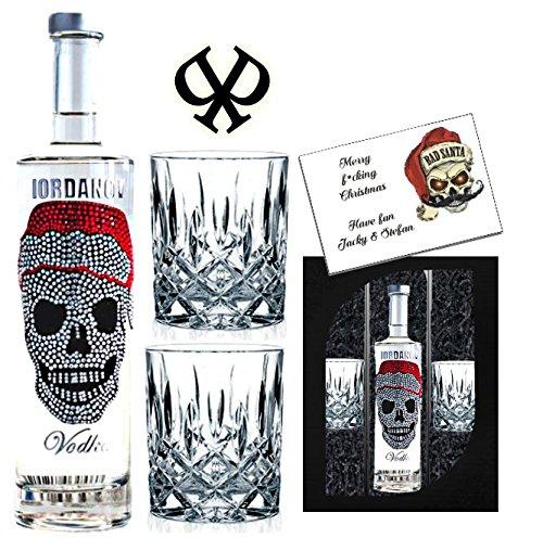 Geschenkset X-Mas Vodka | Luxus Designer Wodka für Männer | Iordanov Weihnachten Skull | 2 edle Gläser | Weihnachtsgeschenk für Männer | Geschenkset statt Rum oder Whisky