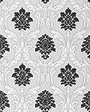 Barock Tapete EDEM 052-20 Tapete Damask Relief-Ornamente Flockoptik schwarz weiß hellgrau