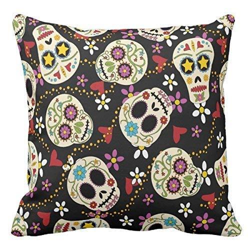 Cuori e fiori sugar skulls tela di cotone cuscino di copertura 45,7x 45,7cm square happy new year stampa cuscino per divano a due lati