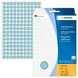 Herma 2213 Vielzwecketiketten bunt, rund (Ø 8 mm) blau, 5.632 Klebepunkte, 32 Blatt, Papier, selbstklebend