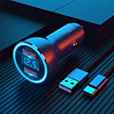 Cargador de coche USB, Dual QC3.0 6A / 36W Cargador de coche rápido USB [Todo metal] Encendedor de cigarrillos Cargador USB V