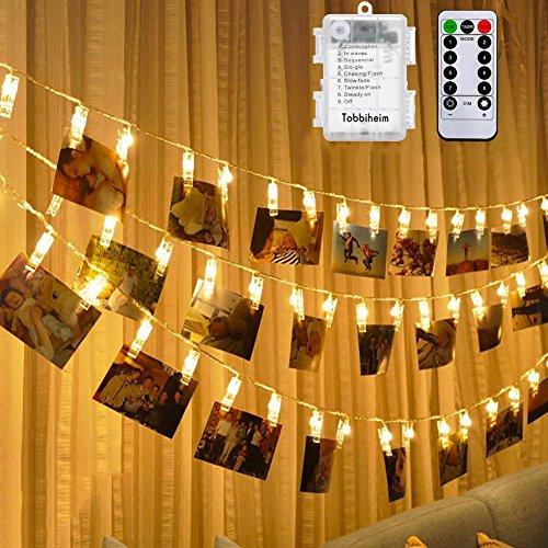 Preisvergleich Produktbild Tobbiheim Photo Clips LED Lichterkette Batteriebetrieben 40 LED 7 Meter Lang IP65 Wasserdicht Stimmungsbeleuchtung Außen und Innen 8 Modi & Fernbedienung für Weihnachten,  Hochzeit,  Party - Warmweiß