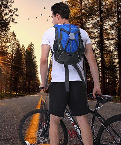 Fahrradrucksack 18L,Wasserdicht Damen Herren Rucksacke Fahrradrucksack Camping Reiserucksack Trinkrucksack Fahrrad für Laufen Radsport Outdoor Reiten Bergsteigen Hydration(Helm,Wasserblase nicht einsc Blau
