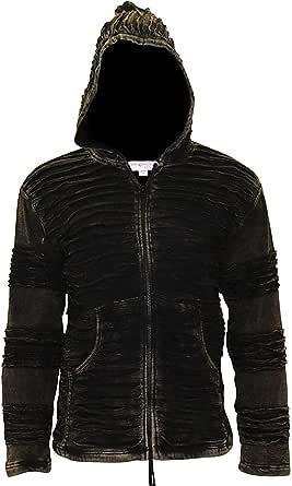 SHOPOHOLIC FASHION Mens Fleece Lined Stonewashed Razor Cut Gothic Winter Jacket