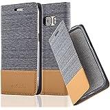 Cadorabo - Etui Housse pour Samsung Galaxy S7 (N'EST pas EDGE) - Coque Case Cover Bumper Portefeuille en Design Tissue-Similicuir avec Stand Horizontale, Fentes pour Cartes et Fermeture Magnétique Invisible en GRIS-CLAIR-MARRON