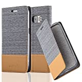 Cadorabo Hülle für Samsung Galaxy S7 - Hülle in HELL GRAU BRAUN – Handyhülle mit Standfunktion und Kartenfach im Stoff Design - Case Cover Schutzhülle Etui Tasche Book