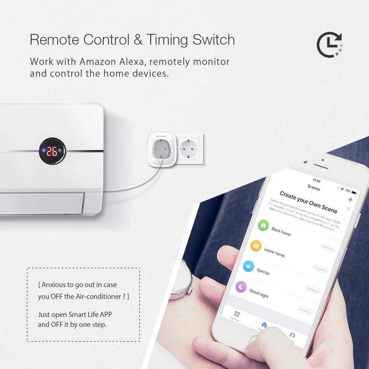 Compatible con Alexa Echo Smart Life Schuko Enchufe Temporizador con Control Remoto Marco magn/ético No Requiere Smart Plug Google Home y IFTTT TEEKAR Enchufe Pared Inteligente WiFi Alexa