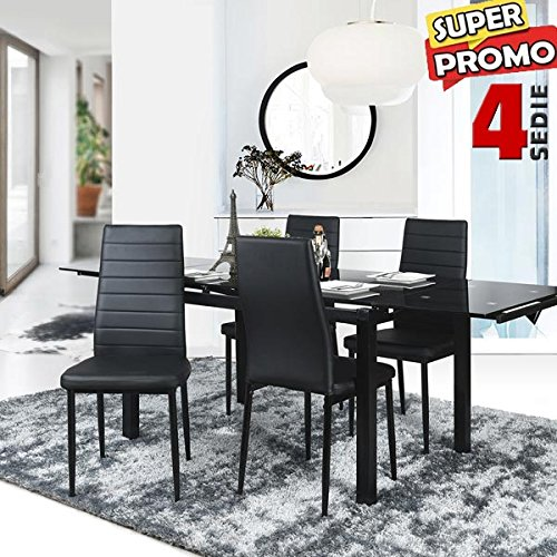 Bakaji Set 4 Sedie Moderne sala da Pranzo Salotto Cucina Seduta Imbottita Ecopelle Nero 4x Sedie in Promo Nere