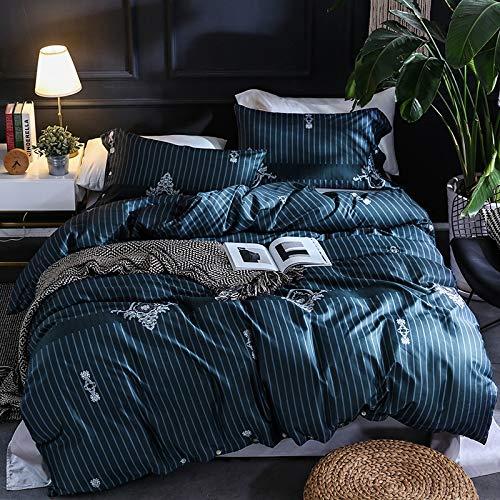 XULIM Bettwäschesatz von Vier Bettwäsche-Set aus ägyptischer Baumwolle mit Blattblumenmuster Bettwäsche-Set aus pastoraler Baumwolle Bettbezug, groß, 200 * 230 cm
