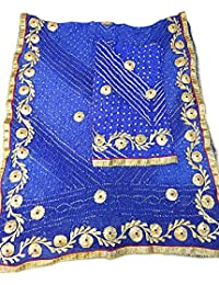 Jaipuri Rajasthani Suit Art Silk Bandhej Gota Patti Work Blue Color