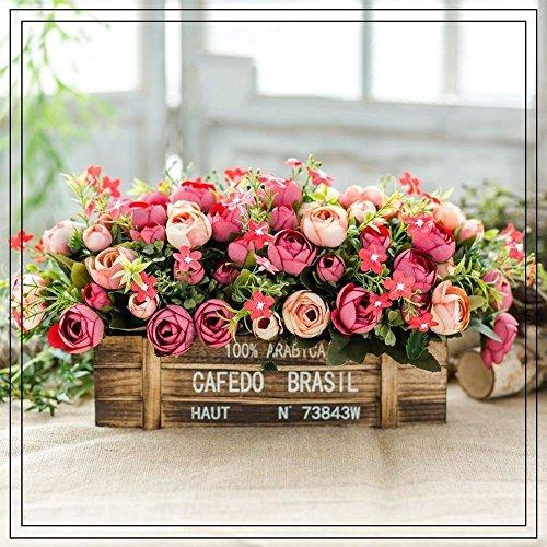 Flinfeays fiori artificiali creativo recinzione in legno fiore finto all'aperto fai da te festa di nozze cucina casa davanzale decorazione vaso di legno disposizione dei fiori rosso-24