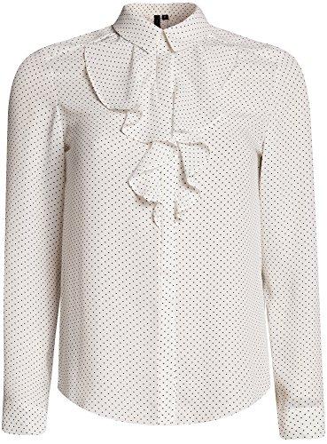 oodji Collection Mujer Blusa de Tejido Fluido con Volantes, Blanco, ES