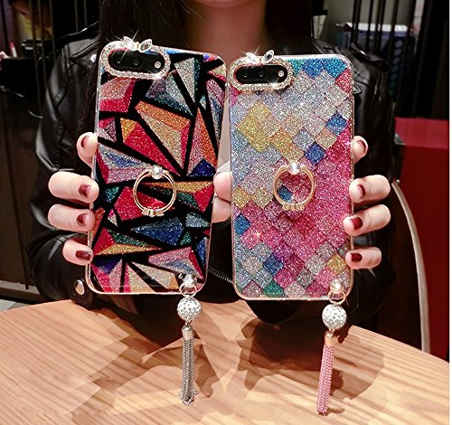 iPhone 7/8 Coque Housse Etui TPU,iPhone 7/8 Case Paillette,Hpory élégant Luxe Ange Motif Cristal Clair Transparent Paillette Bling Glitter Diamant Strass Brillante Housse de Protection Flexible Souple Escalopes de poisson