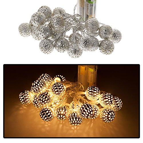 10er LED Lichterkette Kugellichterkette Kugelkette Weihnachten Beleuchtung Deko Batteriebetrieb in warmweiß