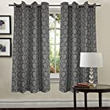 #8: Linenwalas heavy cotton damask jacquard design small window curtains pair of 2 - Black and White