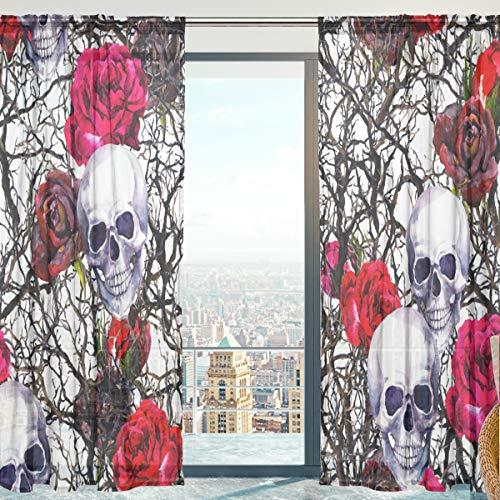 Mnsruu Fenster Vorhänge, Gardinen Platten Fenster Behandlung Set Voile Drapes Tüll Vorhänge Totenkopf 213 cm lang für Wohnzimmer Schlafzimmer Girl \'s Room 2 Platten
