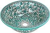 Fes / Marrakesch Grün-keramik handbemalten marokkanischen Waschbecken Waschbecken - Marrakesch Grüne runde, lackiert innen heraus - Di 40 Cam H 16 cm