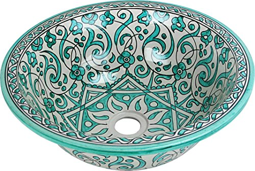 Fes / Marrakesch Grün-keramik handbemalten marokkanischen Waschbecken Waschbecken - Marrakesch Grüne runde, lackiert innen heraus - Di 40 Cam H 16 cm (Marrakesch Bad)