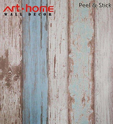 Arthome 31,6 Pies Cuadrados Azul Madera Retro Decorativa Auto-Adhesivo Pelar Y Pegar Papel Pintado Décor (0.53 * 5.65 m)