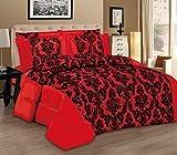 3tlg. Rot Tagesdecke 220x240cm Bettüberwurf Moderne Taft Samt Flockdruck Barock Bettdecke Ornamente