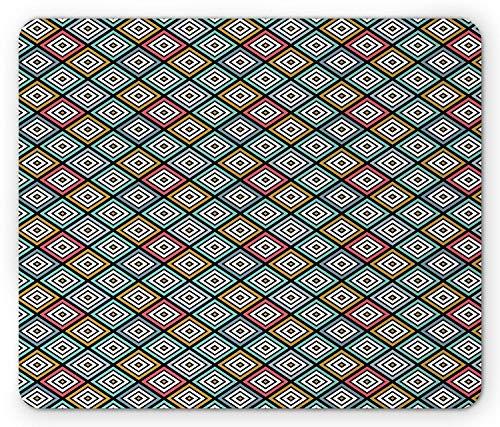 Colorful Mouse Pad, Bullseye Style Rhombus Pattern Geometric Composition Vintage Symmetric Design, Standard Size Rectangle Non-Slip Rubber Mousepad, Multicolor