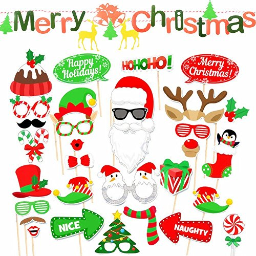 3 Meter Merry Chrismas Girland + 32Pcs Fotorequisiten Fotoaccessoires Photo Booth Requisiten Foto Props Foto Verkleidung Dekorationen Requisiten Zubehör für Weihnachten Hochzeit, Valentinstag, Party