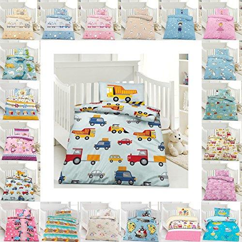 Kinder Bettwäsche 100 x 135 cm + Kissen 40 x 60 cm 100% Microfaser mit Reißverschluss, Erhältlich mit verschiedenen Motiven - Kinderbettwäsche-Set, Babybettwäsche, bedruckter Bettbezug für Jungen & Mädchen - Baustelle