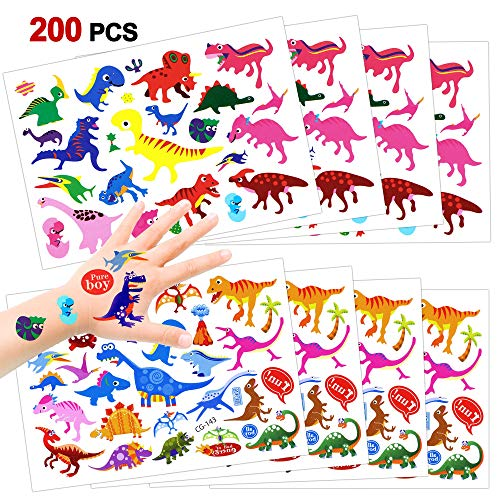 Konsait 216 Pcs Dinosaurier Temporäre Tattoos Set, Dino Kindertattoos Sticker Aufkleber für Kinder, Jungen, Mädchen, Kinder Geburtstag Mitgebsel, Tolle Partyaccessoire (Papier Tasche Kostüm Für Jungen)