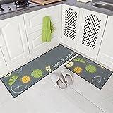 Carvapet 2 Piece Non-Slip Kitchen Mat Rubber Backing Doormat Runner Rug Set, Lemon