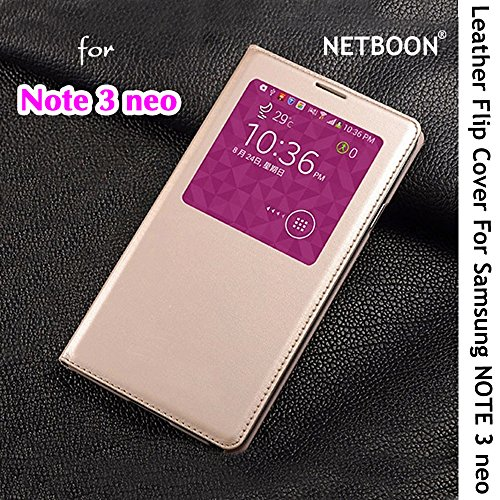 NETBOON® Samsung Note 3 Neo Royal Leather Flip Case Cover with Sensor Window View for Samsung Galaxy Note 3 Neo - Gold  available at amazon for Rs.945