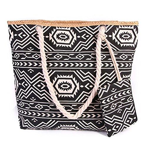 TUOTUO Le donne e le ragazze tela di viaggio borsa tote borsa a tracolla sovradimensionato borsa da spiaggia vacanza shopping bag-TipoB TipoE