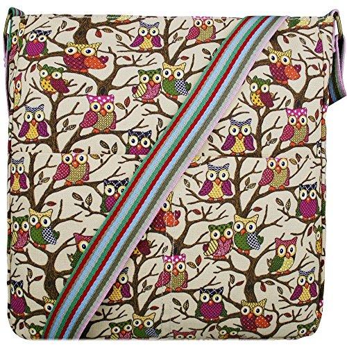 Miss Lulu Borsa messenger borsa da donna borsetta da donna bolse a tracolla borsa da scuola per ragazza Owl Beige Aclaramiento Última WNIJxaIcK