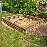 Großer Sandkasten 180x180 cm aus Rundholz Ø 7 cm von Gartenpirat®