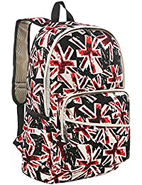 "17"" Red & Black Modern Union Jack Design Fashion Backpack / Kids School Bookbag"