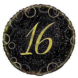 Unique Party- Globo foil de 16 cumpleaños, Color dorado metálico brillante, 45 cm (55831)