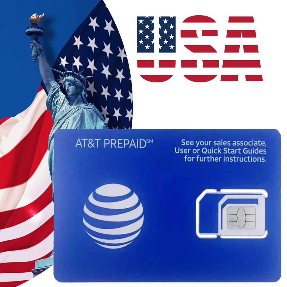 AT&T Prepaid USA SIM Card – Preloaded Unlimited 4G Data Talk and Text- 10 Days