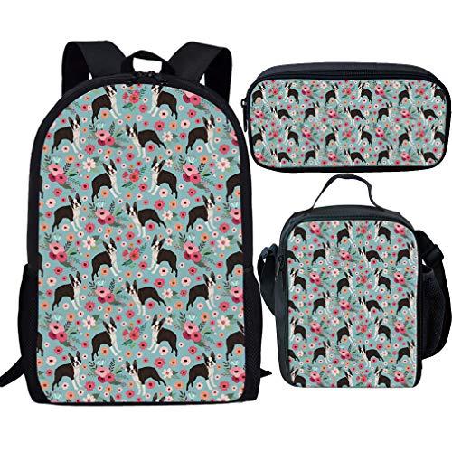 Nopersonality Jungen Mädchen Rucksack Set mit Lunchtasche Federmäppchen 43,2 cm Kinder Schulranzen Set 3-teilig, Boston Terrier School Bag Set (Blau) - Nopersonality - Personalisierte Boston Bag