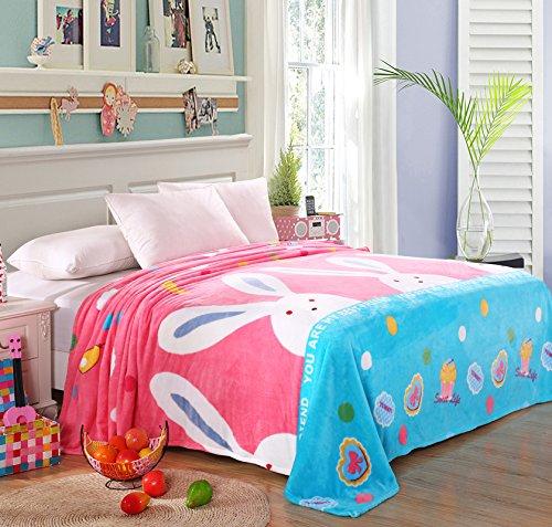 shinemoon Super morbido coniglio rosa/blu letto divano copertina Fuzzy flanella coperta in pile leggero Ufficio Nap coperte - Flanella Bambino Coperte