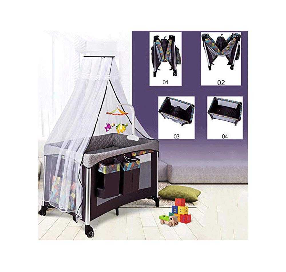Yyqt Baby cot,Baby Changing Station,Padded Borders, Carry Bag, Rounded Edges, Travel Bed for Children, Folding Bedside Cot Yyqt ♥ COMFORT - The luxurious travel bed for children not only offers a high level of comfort, but also numerous well thought-out extras, storage pockets, a removable changing top, an electronic mobile with music and an opening for free access for your offspring. ♥HIGH VALUE MATTRESS - The insertable and separately washable mattress is made of high-quality cold foam and thus ensures a high degree of lying comfort. The removable changing mattress also increases comfort and ergonomics when changing diapers. ♥ELECTRICAL MOBILE WITH MUSIC - The integrated, optionally removable mobile serves as a sleeping aid for your child. In addition, good-night music can be played on request to help your child fall asleep more quickly and quietly. 2
