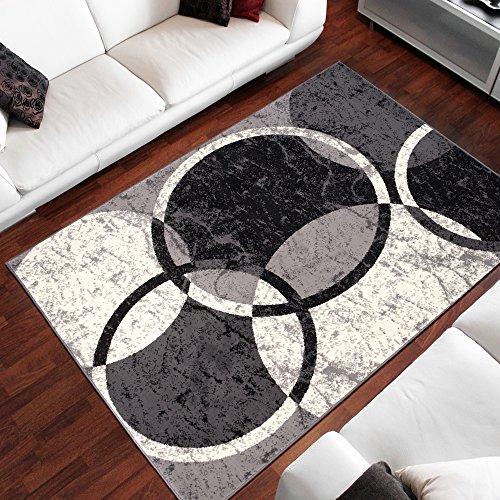 Alfombra Para Salón Precio Bajo Cheap CIRCULOS GRABADOS Negro Diferentes Dimensiones S-XXL (80 x 150 cm)
