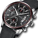 Uhren Herren Sport Chronograph wasserdichte analoge Quarzuhr mit schwarzem Lederband Mode klassischen Casual großen Gesicht Kleid Armbanduhr für Männer