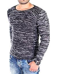 Reslad Strickpullover Herren-Pullover Melange Look Grobstrick-Pulli RS-3125