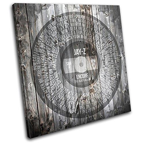 Bold Bloc Design - Jay-Z Encore Vintage Shabby chic Song Lyrics Musical 75x75cm SINGLE Tela Art Print Box incorniciato appeso a parete foto - mano Made In UK - incorniciato e pronto da appendere - Canvas Art Print