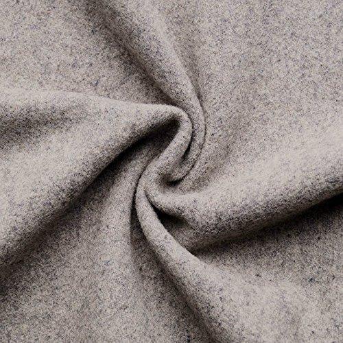 HANNAH - Wollstoff Stoffe Wolle Kaschmir Mantel Mittelalter Vorhang Decke Umhang Larp Meterware - 10 Farben (hellgrau-melange) (Wolle Stoff Jacke Mantel)